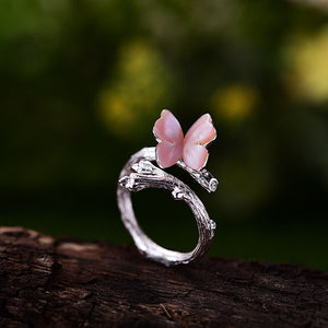 Handmade Sterling Silver Butterfly Ring - Natural Shell - Tafani's