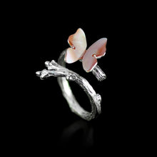 Load image into Gallery viewer, Handmade Sterling Silver Butterfly Ring - Natural Shell - Tafani's