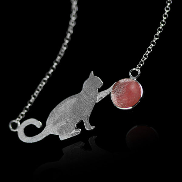 Sterling Silver Cat Necklace - Handmade - Tafani's