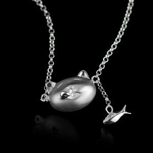 Sterling Silver Cat & Fish Necklace - Handmade - Tafani's