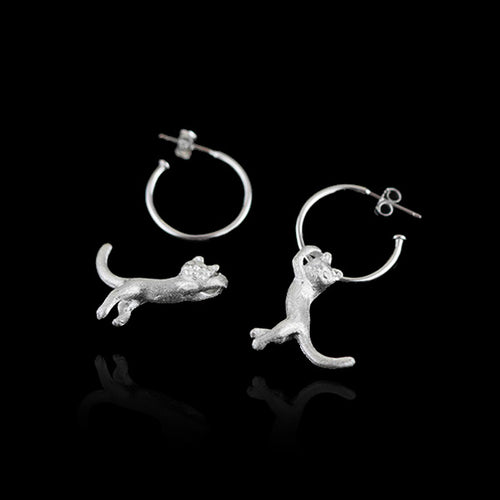 Sterling Silver Cat Drop Earrings - Handmade - Tafani's