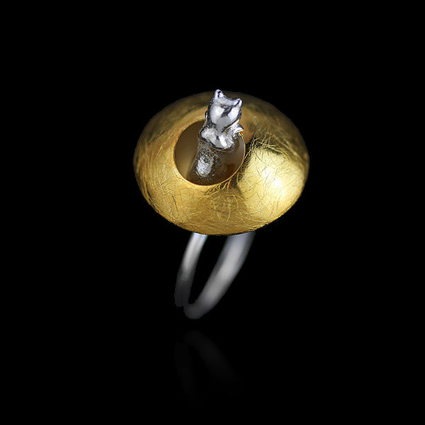 Sterling Silver Cat Ring - Handmade - Tafani's