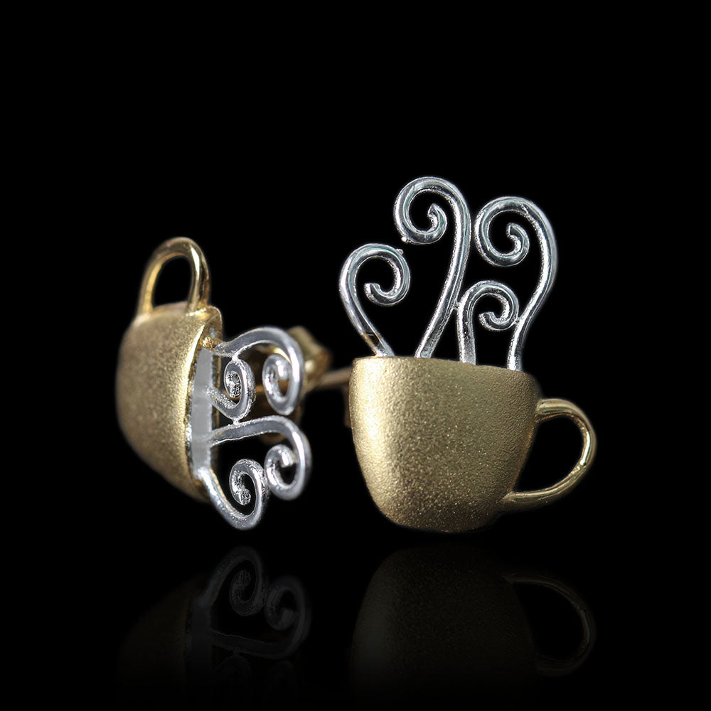 Handmade Coffee Cup Stud Earrings Sterling Silver - Tafani's