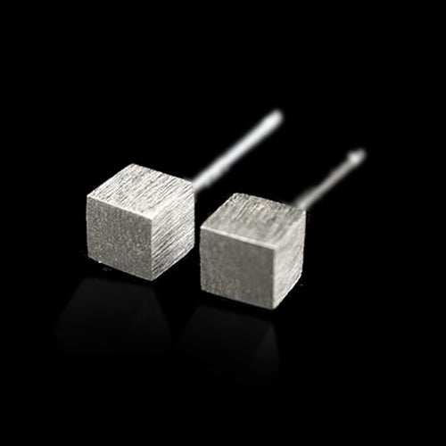 Silver Cube Stud Earrings - Handmade - Tafani's