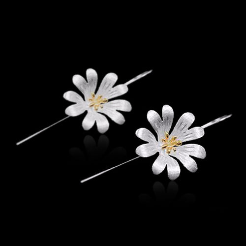 Sterling Silver Flower Drop Earrings - Handmade - Tafani's