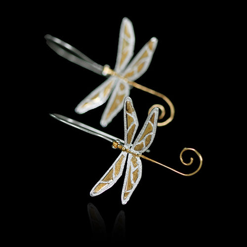 Sterling Silver Dragonfly Drop Earrings - Handmade - Tafani's