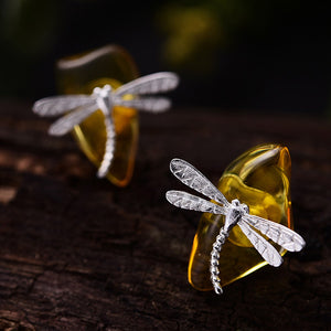 Handmade Sterling Silver Dragonfly Stud Earrings - Natural Amber - Tafani's