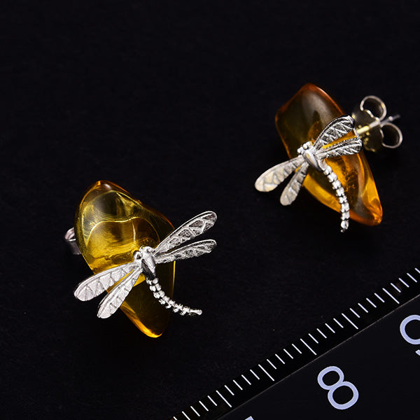 4cf31a8c2 ... Load image into Gallery viewer, Handmade Sterling Silver Dragonfly Stud  Earrings - Natural Amber ...