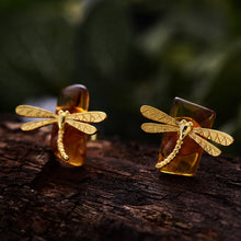 Load image into Gallery viewer, Handmade Sterling Silver Dragonfly Stud Earrings - Natural Amber - Tafani's