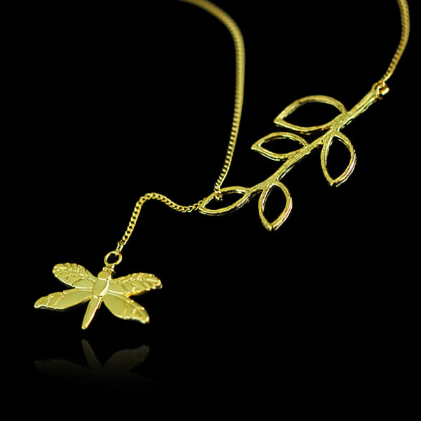 Sterling Silver Dragonfly and Plant Necklace - Tafani's