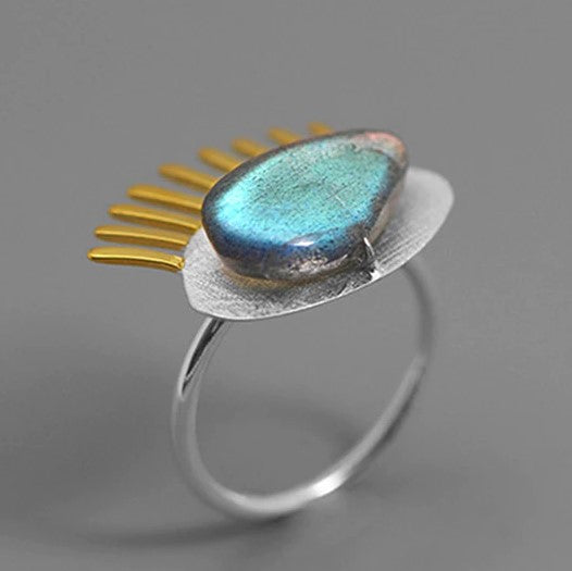 Handmade Sterling Silver Eye Ring - Natural Labradorite