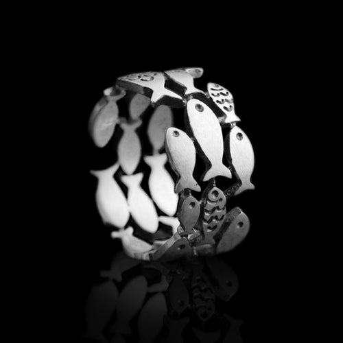 Silver Fish Ring Resizable - Tafani's