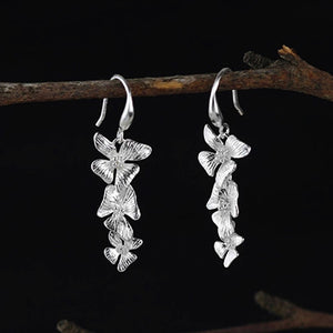 Sterling Silver Flowers Drop Earrings - Handmade - Tafani's