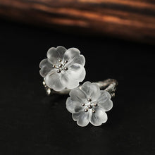 Load image into Gallery viewer, Handmade Sterling Silver Flowers Ring - Natural Quartz - Tafani's