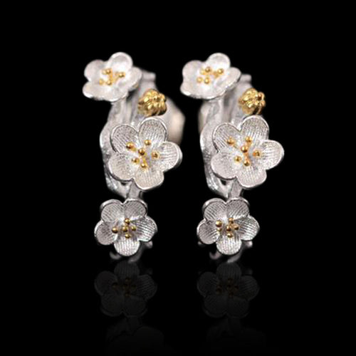Sterling Silver Flower Stud Earrings - Tafani's