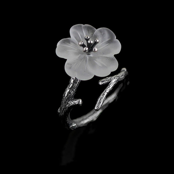Handmade Sterling Silver Flower Ring - Natural Quartz - Tafani's