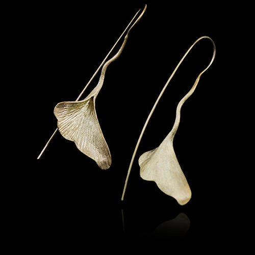 Sterling Silver Ginkgo Leaf Drop Earrings - Handmade - Tafani's