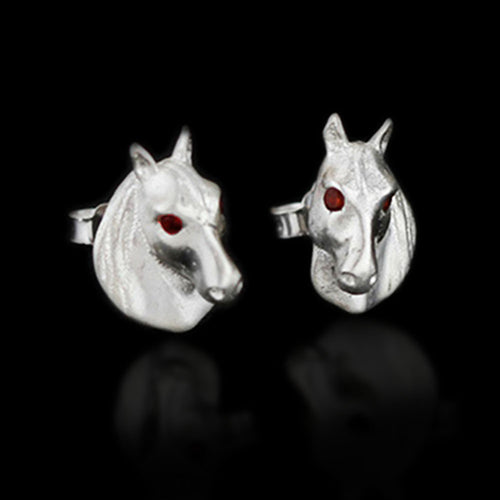 Handmade Sterling Silver Horse Stud Earrings - Natural Garnet - Tafani's