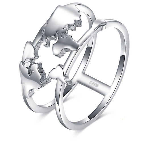 World Map Ring - Sterling Silver - Tafani's