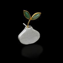 Load image into Gallery viewer, Handmade Sterling Silver Plant in a Vase Brooch - Natural Aventurine - Tafani's