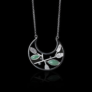 Handmade Sterling Silver Plant Necklace - Natural Aventurine - Tafani's