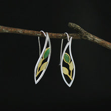 Load image into Gallery viewer, Handmade Sterling Silver Leafy Plant Drop Earrings - Natural Aventurine - Tafani's
