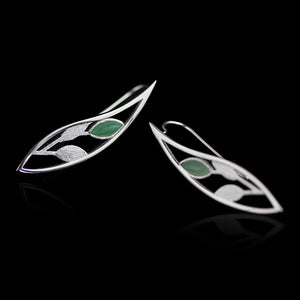 Handmade Sterling Silver Leafy Plant Drop Earrings - Natural Aventurine - Tafani's