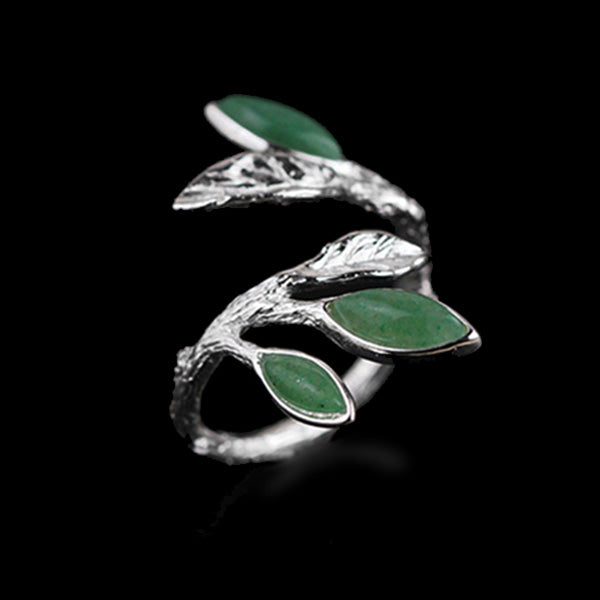 Handmade Sterling Silver Leafy Plant Ring - Natural Aventurine - Tafani's