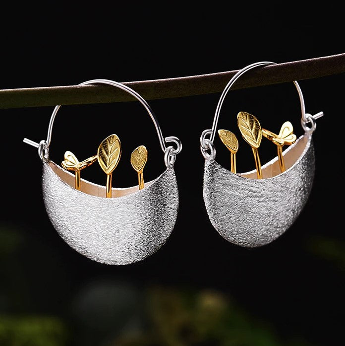 Sterling Silver Little Garden Drop Earrings - Handmade - Tafani's