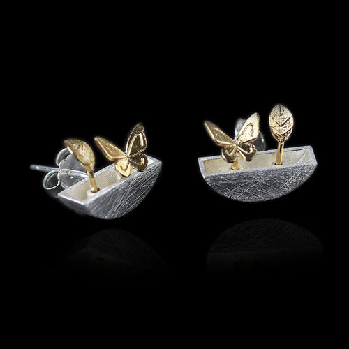 Sterling Silver Little Garden Stud Earrings - Handmade - Tafani's