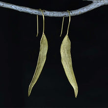 Load image into Gallery viewer, Handmade Sterling Silver Long Leaf Drop Earrings - Gold Plated - Tafani's