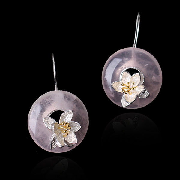 Handmade Sterling Silver Lotus Flower Drop Earrings - Natural Quartz - Tafani's