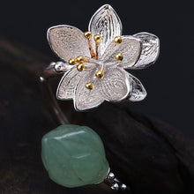 Load image into Gallery viewer, Sterling Silver Lotus Flower Chalcedony Handmade Ring - Tafani's