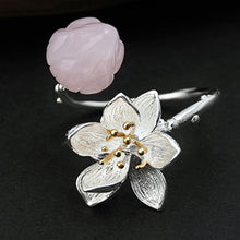 Load image into Gallery viewer, Sterling Silver Lotus Flower Natural Quartz Handmade Ring - Tafani's