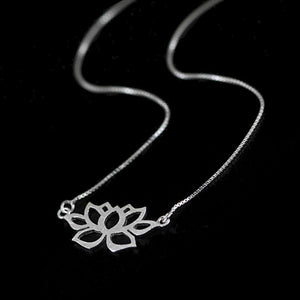 Sterling Silver Lotus Necklace - Handmade - Tafani's