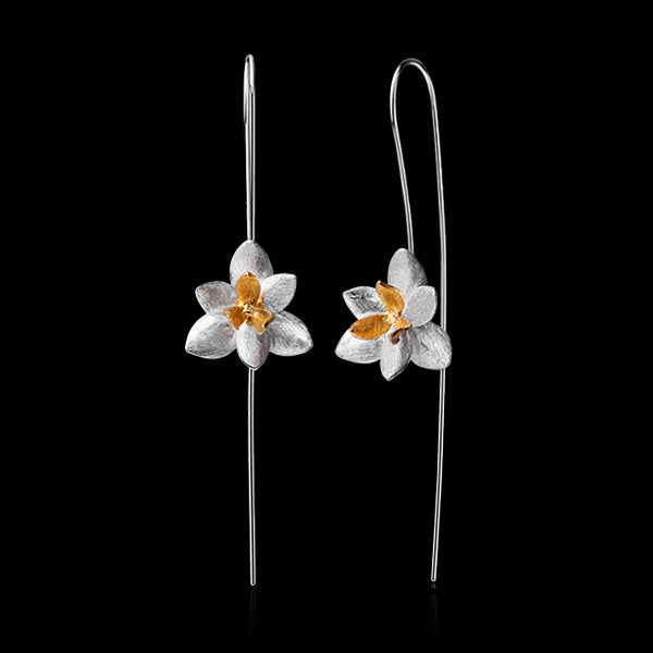Sterling Silver Orchid Flower Drop Earrings - Handmade - Tafani's