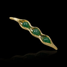 Load image into Gallery viewer, Handmade Sterling Silver Pea Pod Brooch - Natural Aventurine - Tafani's