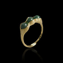 Load image into Gallery viewer, Handmade Sterling Silver Pea Pod Ring - Natural Aventurine - Tafani's