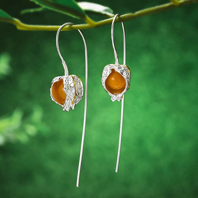 Handmade Sterling Silver Physalis Fruits Drop Earrings - Topaz