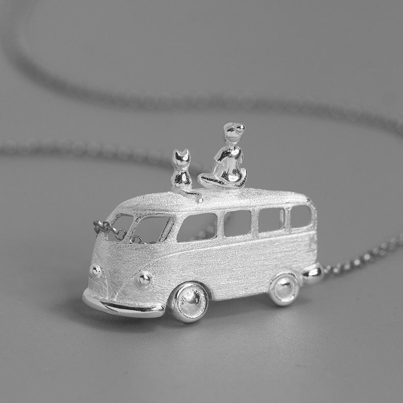 Handmade Hippie Van Pendant Necklace - Sterling Silver