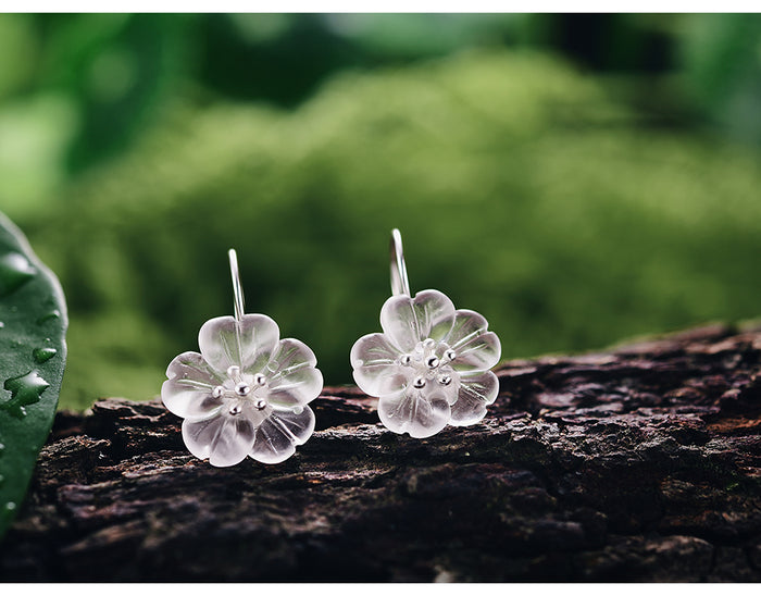 925 Sterling Silver Earrings Handmade Flower in the Rain - Tafani's
