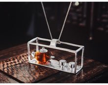 Load image into Gallery viewer, Handmade Sterling Silver Teapot Pendant - Amber - Tafani's