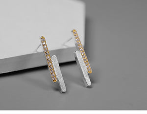 Handmade Sterling Silver Stud Earrings - Zircons - Tafani's