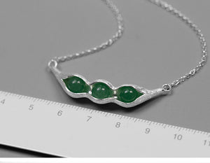 Handmade Sterling Silver Pea Pod Necklace + Ring + Drop Earrings Set - Natural Aventurine - Tafani's