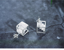 Load image into Gallery viewer, Handmade Stairs Stud Earrings - Sterling Silver - Tafani's