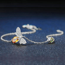 Load image into Gallery viewer, Sterling Silver Bee Bracelet - Natural Citrine, Peridot - Tafani's