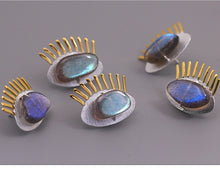 Load image into Gallery viewer, Sterling Silver Handmade Eye Brooch - Natural Labradorite - Tafani's
