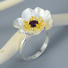Load image into Gallery viewer, Sterling Silver Handamde Anemone Flower Ring - Natural Stone - Tafani's