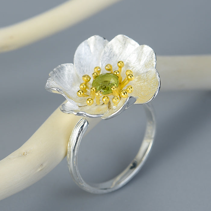 Sterling Silver Handamde Anemone Flower Ring - Natural Stone - Tafani's
