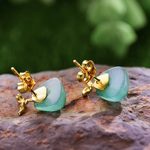 Load image into Gallery viewer, Handmade Sterling Silver Sprouting Plant Stud Earrings - Natural Aventurine - Tafani's